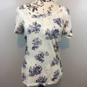 Tops - BOGO FREE BDG Blue Floral Print Tee Size Large